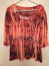 Vintage Suzie Women's Multi-Color Sequined Neckline 3/4 Sleeve Blouse Top Size X