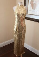 Vtg Laurence Kazar Yellow Gold Silk Beaded Sequin Dress Formal Party M Evening