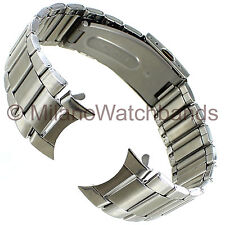 24mm deBeer Stainless Steel Straight Curved End Deployment Mens Watch Band LM291
