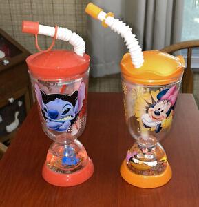 """Disney Store Set of 2 Snow Globe Cups STITCH & MINNIE MOUSE 7"""" w Lid & Straws"""