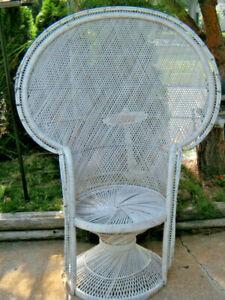 "Vintage Wicker Peacock Rattan Chair Boho 57"" Tall MCM Fan Back GREYHOUND BUS"