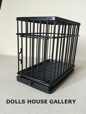 Black Metal Dog / Pet Cage With Opening Door, Doll House Miniature, Check Size