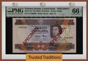 TT PK 12s 1984 SOLOMON ISLANDS 20 DOLLARS SPECIMEN QUEEN ELIZABETH II PMG 66 EPQ
