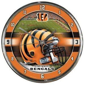 Cincinnati Bengals NFL 12' Round Chrome Battery Wall Clock