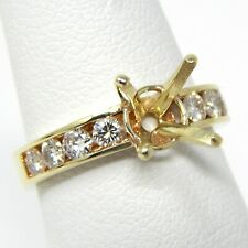 Round 7.5 - 8 mm + Accents Diamond Semi Mount Setting 14k Gold Size 4.5 A7128