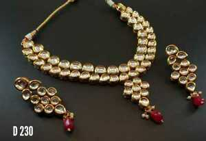 Designer Bollywood Style Gold Plated Kundan Women Necklace Jewelry Sets