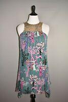TIBI $395 Teal Embellished Printed Asymmetric Shift Dress Medium