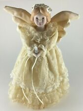 Angel Christmas tree topper porcelain head hands lace gown 10.25""