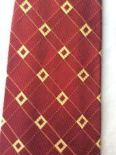 ERMENEGILDO ZEGNA vintage fashion tie 100% Silk Italy crimson/gold geometric