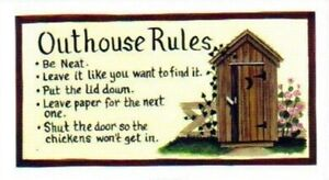 OUTHOUSE RULES Don't Pee on Seat country bathroom farmhouse decor wood sign