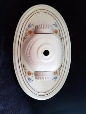 VINTAGE BLUE ORANGE FLOWERS FLUSH CEILING PORCELAIN 2 LIGHT FIXTURE BY PORCELIER