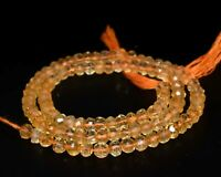 """Long strand golden AAA CITRINE faceted gem stone RONDELLE beads 3-4mm yellow 13"""""""