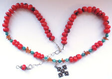 Beautiful 925 Silver Red Coral Turquoise Amber Beaded Cross Necklace Retro 57g
