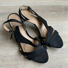 Naturalizer Black Open Toe Sandals Size 9.5 M Sling Back Small Heel Satin Fabric