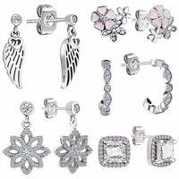 Elegant Woman Silver Ear Stud CZ Crystals Dangle Earrings Fashion 925 Jewelry