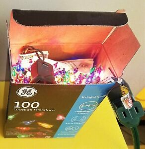 GE Party Christmas String Lights,50/100 Clear/Red/Blue/Green/Purple/Gold - NIB