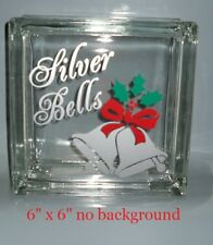 """Silver Bells Christmas Decal Sticker for 8"""" Glass Block Shadow Box"""