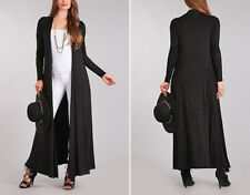 S-3X Women's Full Length Cardigan Sweater Duster Long Sleeves Open Front Black