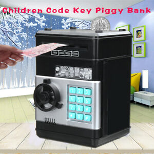 Code Key Lock Piggy Bank Coins Cash Saving Money Box Counter Gift For