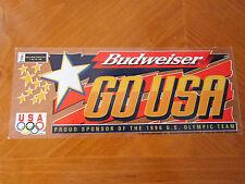 "VINTAGE BUDWEISER  10""  WINDOW STICKER (static cling ) 1996 OLYMPIC "" GO USA"""