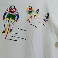 Lacoste Izod Large Men's Vintage Sweatshirt Cyclists White Bicycle Blue Green