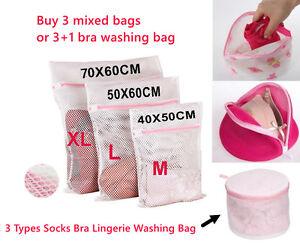 Zipped Laundry Washing Bag Mesh Net Underwear Bra Clothes Socks  Multi Sizes