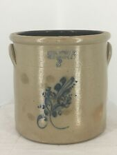 Antique Haxstun, Ottman & Co NY 3 Gallon Stoneware Crock w Floral Design