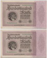 Mazuma *F762 Germany 1923 100000 Marks N06686851-852 2 Running UNC