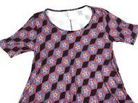 LulaRoe Perfect T Sz XS - Black Blue Star Print Rayon - NEW