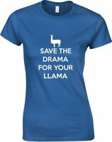 Save The Drama For Your Llama Funny Printed Ladies T-Shirt Casual Tee for Womens