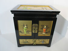 Jewelry Box 5 Drawer Chest Wood Hand Painted Geisha Lock Keys Vintage Hong Kong