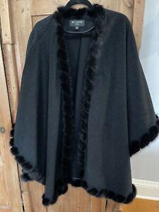 "St John Cape Mink Fur Wool Cashmere One Size 33""x46"" worn Once"