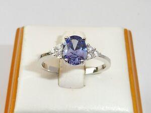 Hecho a mano Ladies 925 Sterling Silver Oval tanzanita y anillo de zafiro blanco