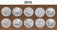 2019 National Park Quarters  P& D Yearly Uncirculated coin set 10 Coins