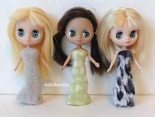 Mini Blythe Doll Clothes 3 Handmade DRESSES Petite & Littlest Pet Shop NO DOLLS