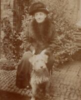 91430 VINTAGE RPPC POSTCARD WOMAN IN FUR COLLAR WITH HER DOG WHEATON TERRIER