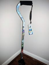 New! Ladies Vibrant Peacock Print Offset Handle Self Standing Tip Walking Cane