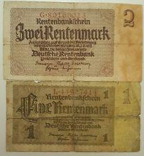 GERMANY  1 Rentenmark  &   2 Rentenmarks  1937    P-173/174     / 1 & 2 Mark /