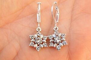 New ALTERED Brighton Arctica  Silver & Crystal Snowflake On Lever Back Earrings