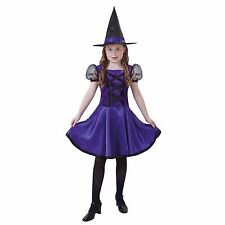 Violet Witch Girls Halloween Costume - Dress and Hat - 8-10 Medium - #5015