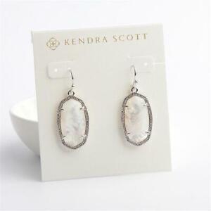 Kendra Scott Dani Silver Tone  Drop Earrings in Mother of Pearl