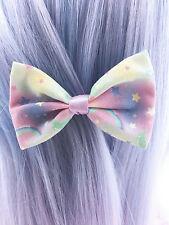 Pastel Galaxy Small Fabric Hair Bow - Pastel Fairy Kei Kawaii Hair Clip