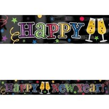 Happy New Year Foil Party Banner 9 ft Wall Decoration Colorful Jewel Tones