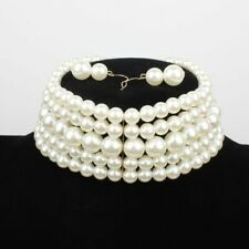 Pearl Beads Creamy white  Fashion Wide  Choker Necklace Set UK