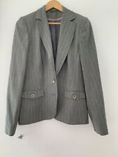 Ladies Jacket Dorothy Perkins 14 Grey Pin Stripe lined <JJ11489