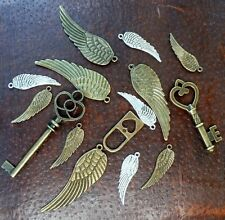 DRAWER Lot Steampunk antique brass silver skeleton key wings pendant charm 7