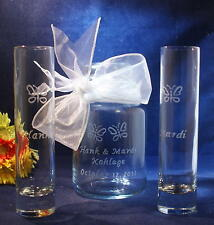 3 pc Wedding Sand Ceremony Set, Engraved Colonial Jar, Engraved Butterflies