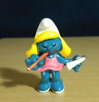 Smurfs Secretary Smurfette Pink Dress Smurf 20140 Vintage Figure PVC Figurine