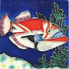 "Fish Tropical Tile ""Triggerfish"" 4x4 Wall Coaster Sealife Nautical Aquarium"