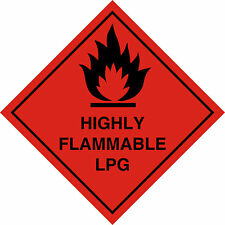 HIGHLY FLAMMABLE LPG HAZARD WARNING MAGNETIC vehicle SIGN removable
